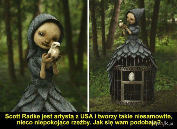 Artysta rzeźbi postacie żyjące w jego wyobraźni