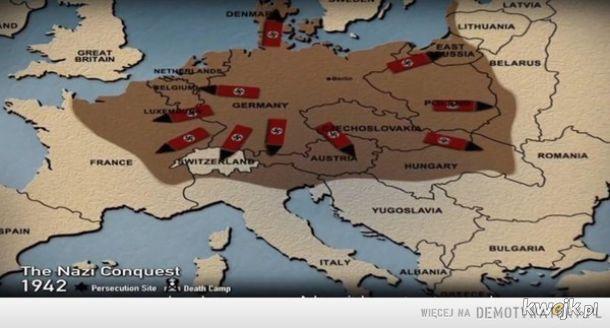 Tak prezentacja w Yad Vashem prezentuje agresję nazistowskich Niemiec na kraje Europy. W 1942 roku. Z Białorusią na mapie i z Wschodnimi Prusami, które chyba nie należą do Niemiec bo one też wyglądają na zajmowane w czasie walk. Chyba zajęli też Włochy.