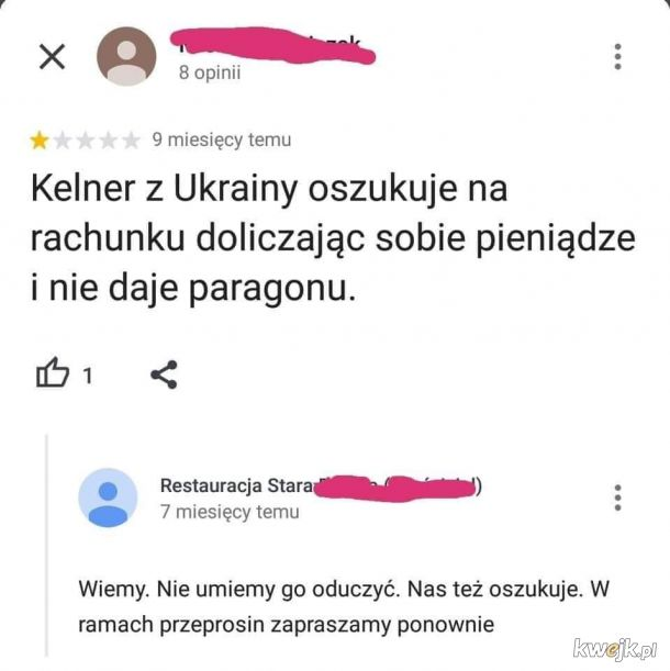 Kelner z Ukrainy
