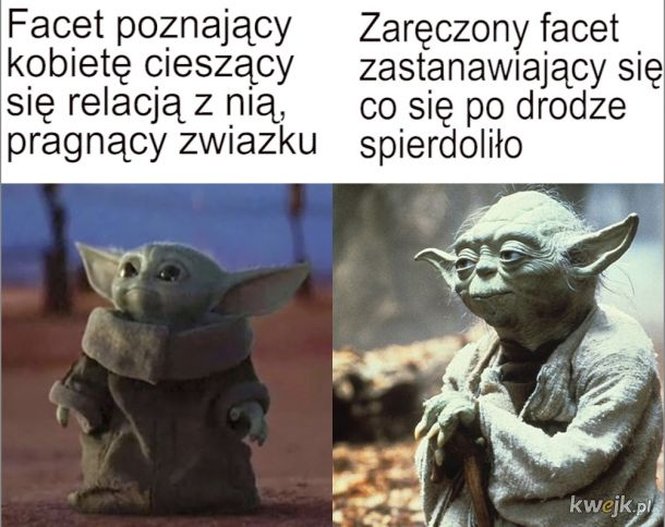 Baby Yoda stary yoda początek związku vs później