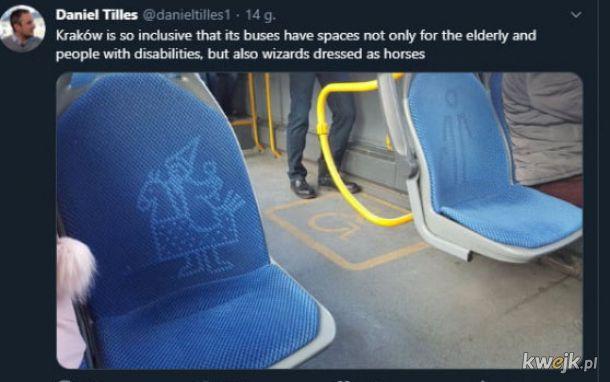 Siedzenia w krakowskich autobusach