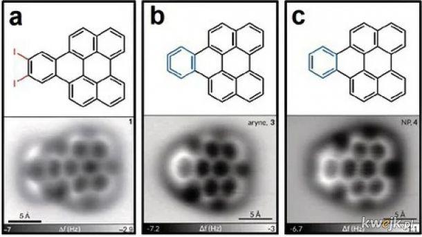Cząsteczki arynowe widoczne z Mikroskopii Atomowej wykonanej przez IBM Lab