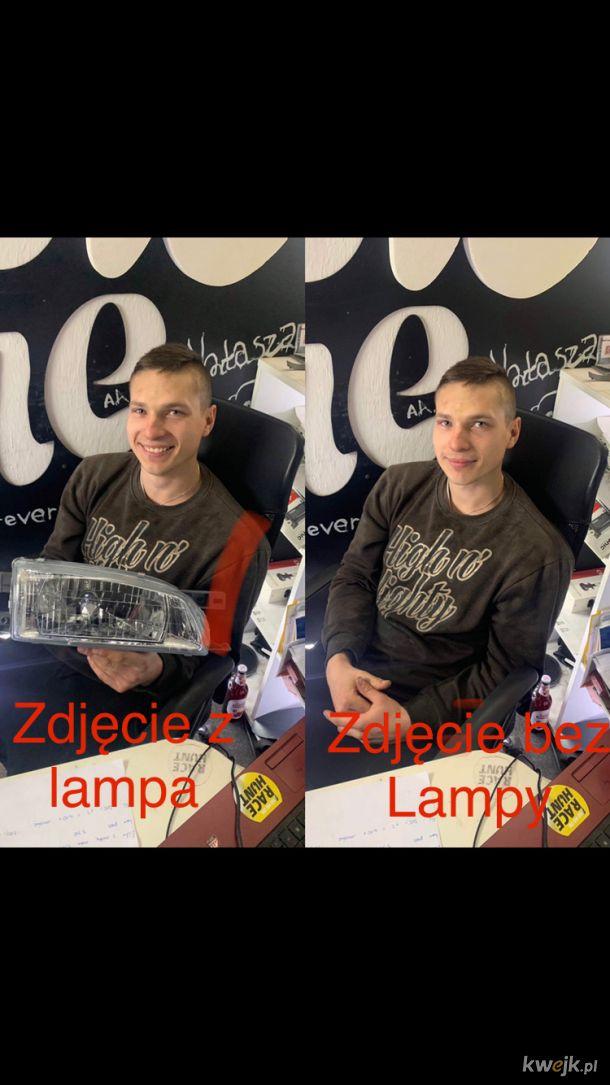 Zdjecie z lampa i bez lampy