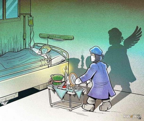 Irański artysta Alireza Pakdel przedstawia grafiki, które oddają hołd służbom walczącym z koronawirusem, obrazek 3