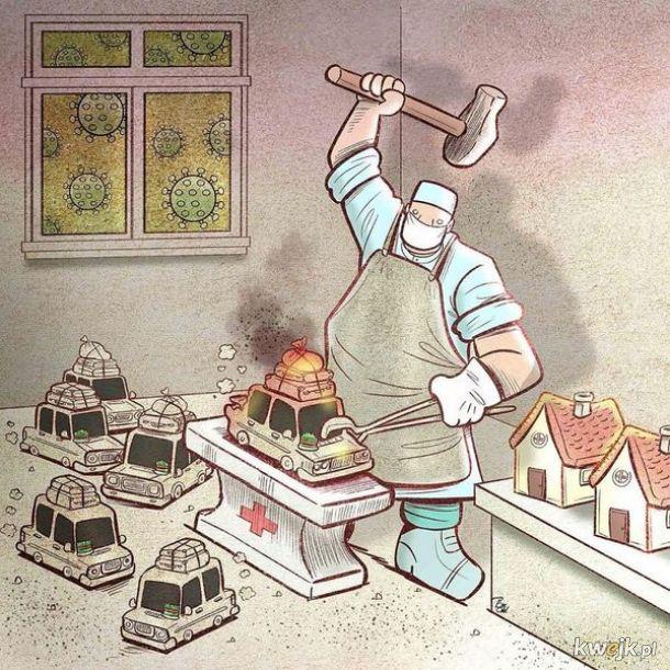 Irański artysta Alireza Pakdel przedstawia grafiki, które oddają hołd służbom walczącym z koronawirusem, obrazek 20