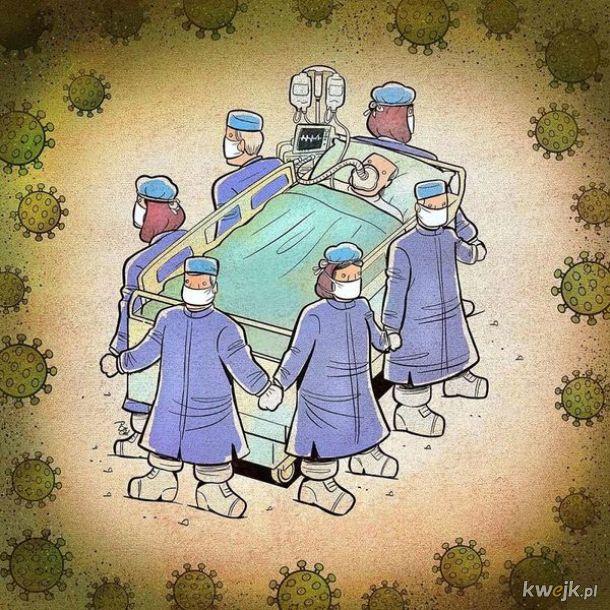 Irański artysta Alireza Pakdel przedstawia grafiki, które oddają hołd służbom walczącym z koronawirusem, obrazek 12