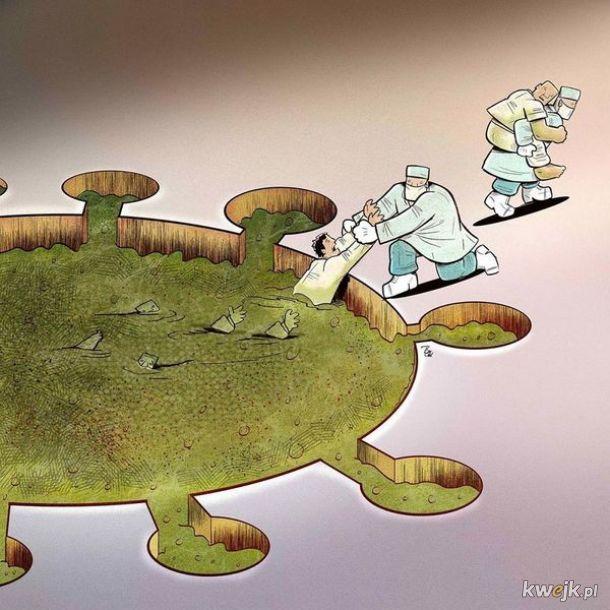 Irański artysta Alireza Pakdel przedstawia grafiki, które oddają hołd służbom walczącym z koronawirusem, obrazek 6