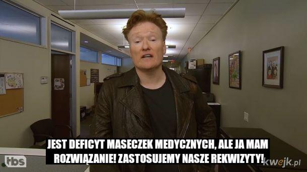 Conan O'Brien śmieszkuje z koronawirusa w podrzędnym korpo