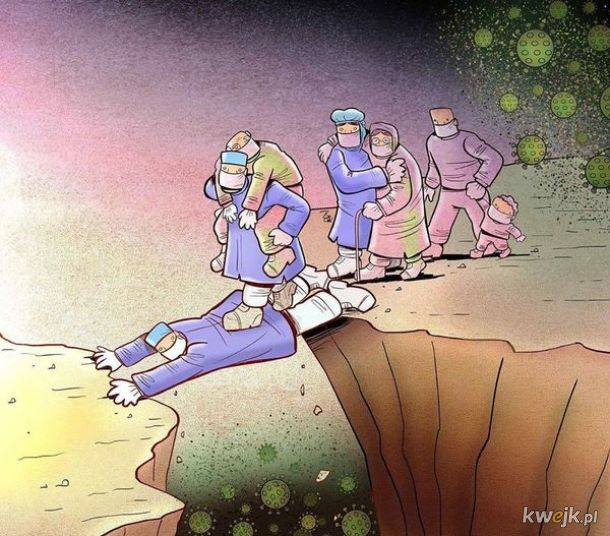 Irański artysta Alireza Pakdel przedstawia grafiki, które oddają hołd służbom walczącym z koronawirusem