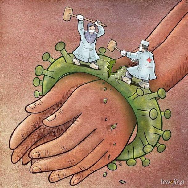 Irański artysta Alireza Pakdel przedstawia grafiki, które oddają hołd służbom walczącym z koronawirusem, obrazek 2