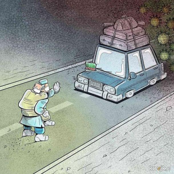 Irański artysta Alireza Pakdel przedstawia grafiki, które oddają hołd służbom walczącym z koronawirusem, obrazek 11