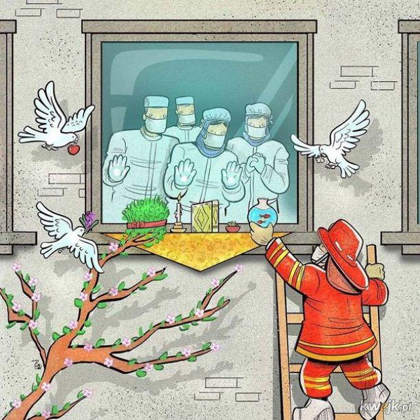 Irański artysta Alireza Pakdel przedstawia grafiki, które oddają hołd służbom walczącym z koronawirusem, obrazek 16