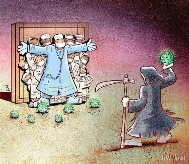 Irański artysta Alireza Pakdel przedstawia grafiki, które oddają hołd służbom walczącym z koronawirusem, obrazek 4