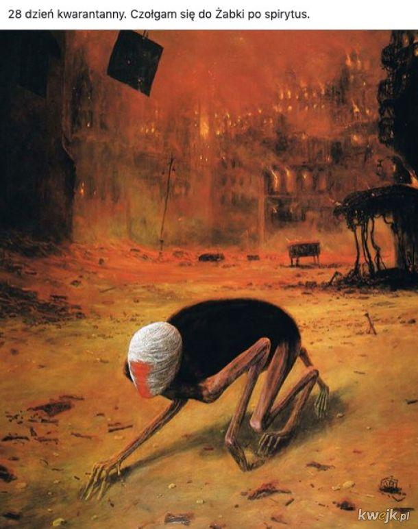 Pewien internauta przerabia obrazy Beksińskiego na memy o koronawirusie