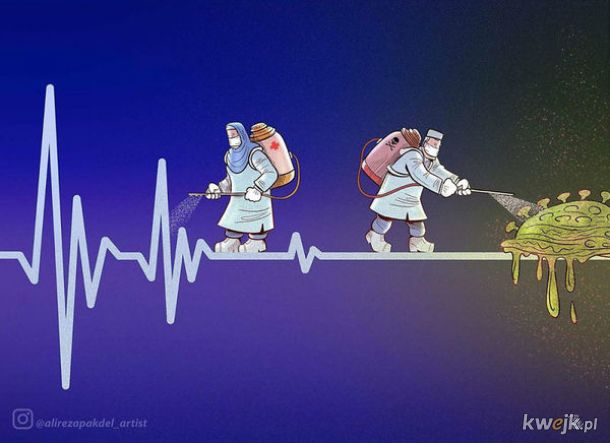 Irański artysta Alireza Pakdel przedstawia grafiki, które oddają hołd służbom walczącym z koronawirusem, obrazek 13