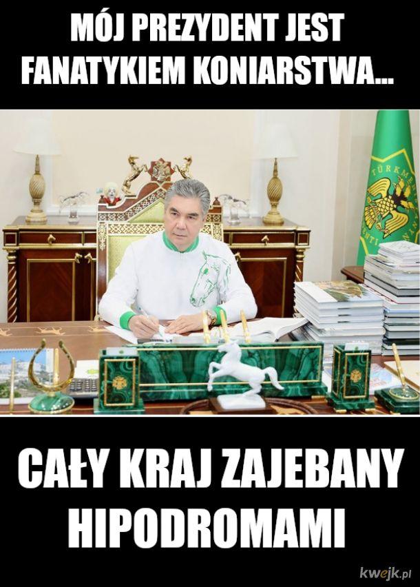 Ile koni widzisz w gabinecie prezydenta Turkmenistanu?