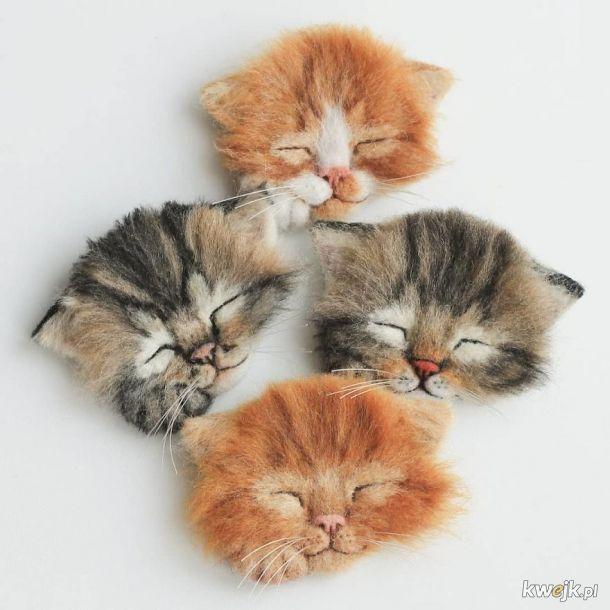 Kotki zrobione z wełny do filcowania