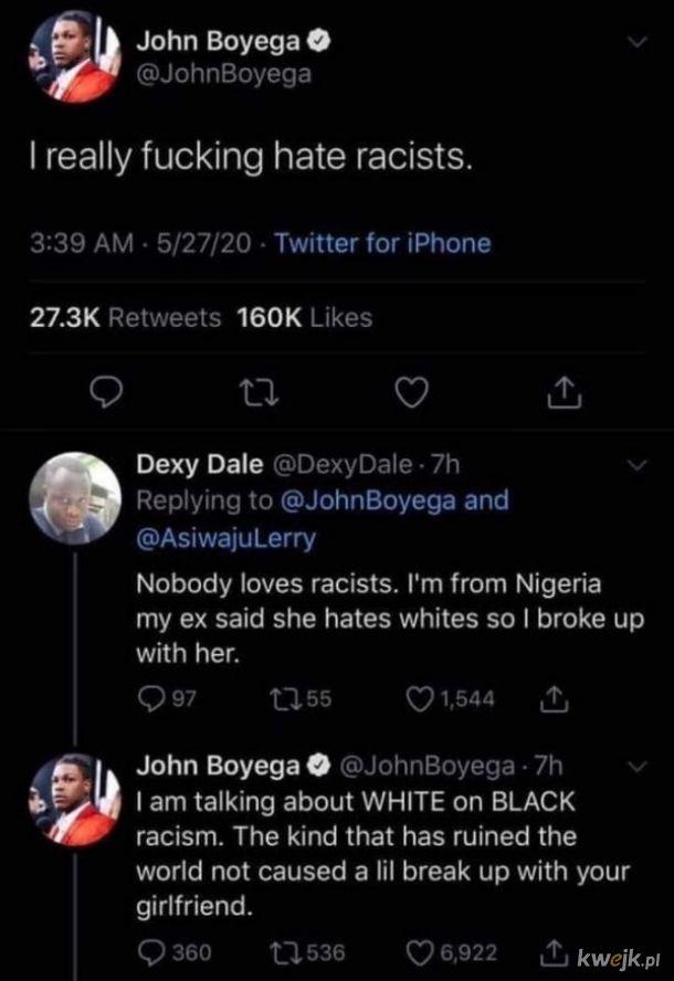 Boyega to głupi czarnuch, a Pan Dale to szanowany Afrykanin