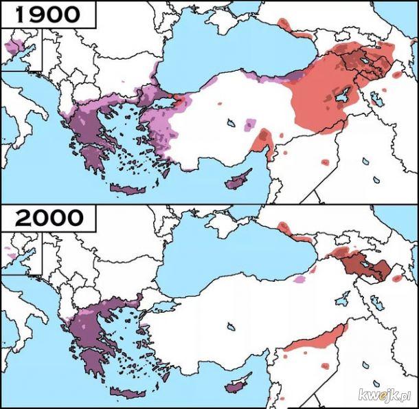 Grecy oraz Ormianie w Turcji, porównanie 1900 roku z 2000