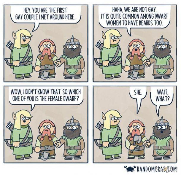 Kobiety krasnoludów mają brody... Ciekawe...