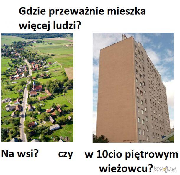 Gdzie przeważnie mieszka więcej ludzi?