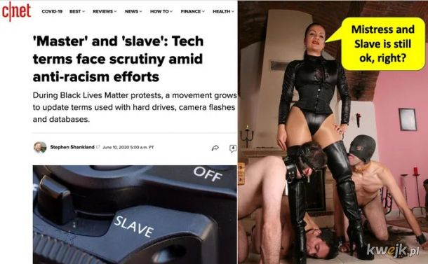 """Zmiany w swiecie techniki! Koniec z okreslaniem dyskow """"master"""" i """"slave""""? Swiat BDSM na razie pozostaje bez zmian."""