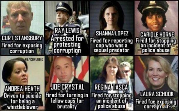 Policjanci zwolnieni ze sluzby za... ujawnianie korupcji w szeregach policji.