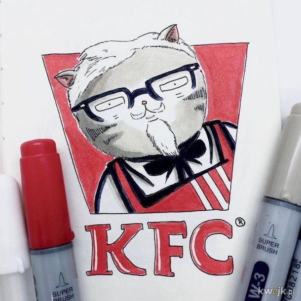 Artystka z Japonii o pseudonimie Floofers uzupełnia znane marki w kociaczki