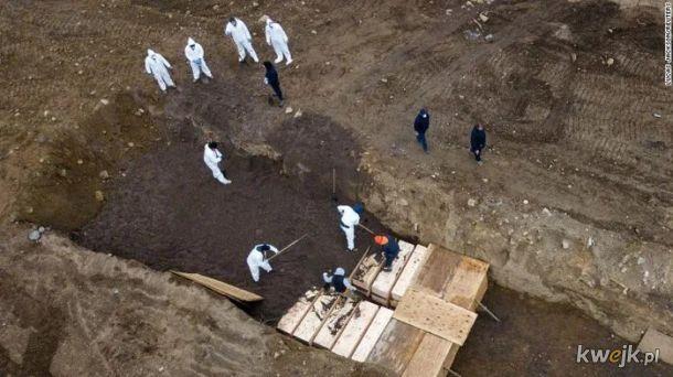 Z braku miejsca w kostnicach, zwloki po ktore nikt sie nie zglasza, zaczyna sie chowac w masowych grobach. Nowy Jork