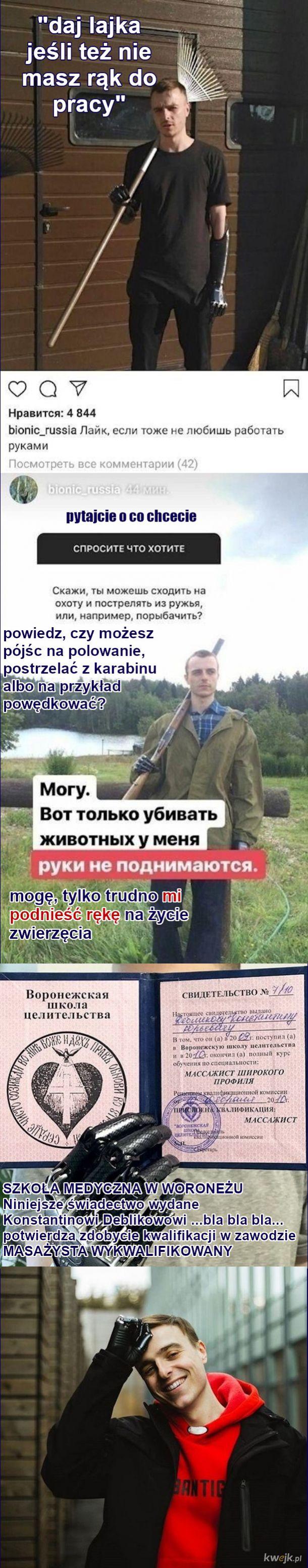 Pan z Rosji ma bioniczne ręce i opowiada o sobie