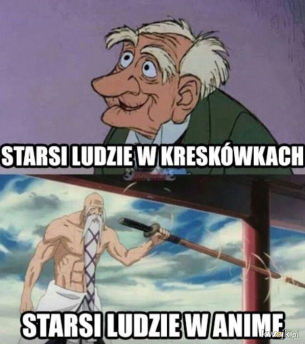 Starsi ludzie anime vs kreskówki