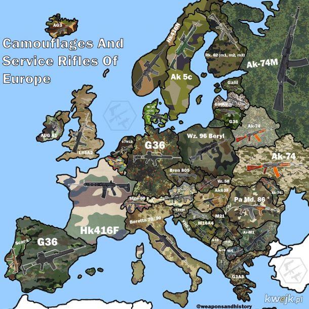 Kamuflaże i podstawowa broń strzelecka w Europie