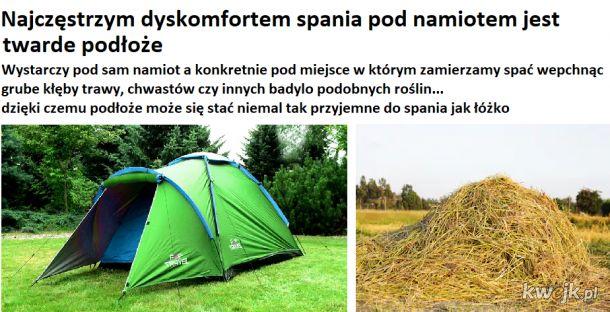 Spanie pod namiotem (life hack)