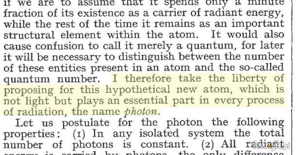 """Pierwsze użycie słowa """"foton"""" przez Gilberta Lewisa w publikacji z 1926 roku"""