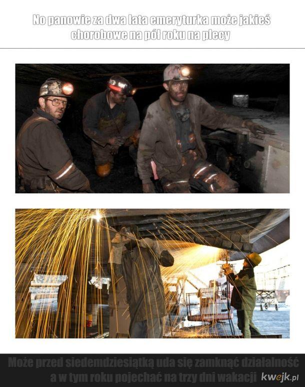 Różnica pomiędzy górnikami a stoczniowcami.