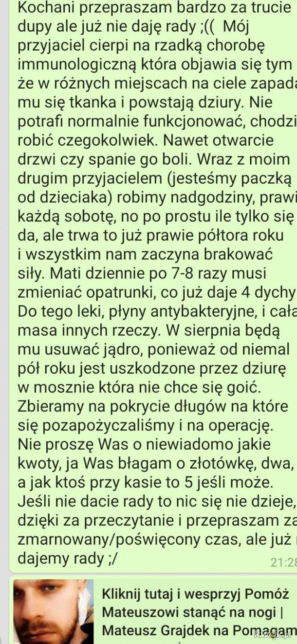 Błagam Was o pomoc https://pomagam.pl/mateuszwalczy