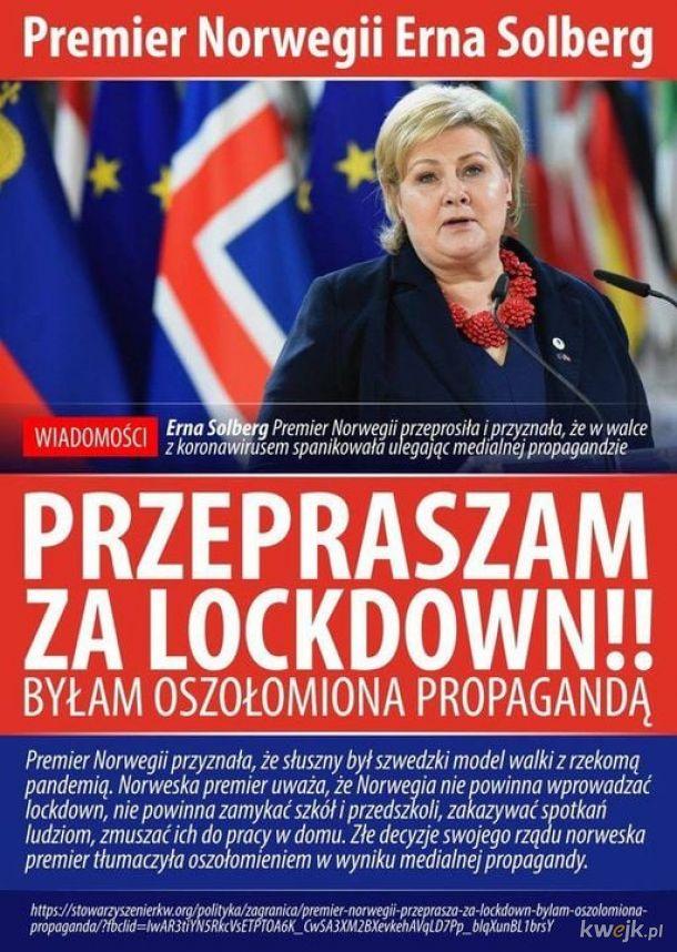 """""""Byłam oszołomiona propagandą"""". Premier Norwegii przeprasza za Lockdown.  Kiedy Polaków przeprosi Rząd i Sejm ściągną restrykcje i podadzą się do dymisji ?"""