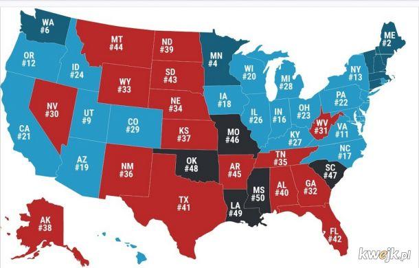Ranking najniebezpieczniejszych stanow w USA