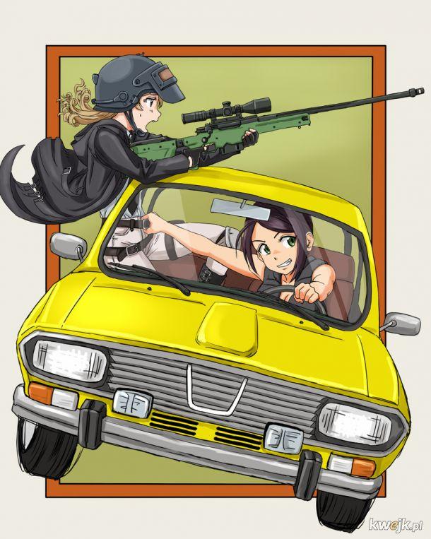 Anime dziewczynki w Dacii 1300