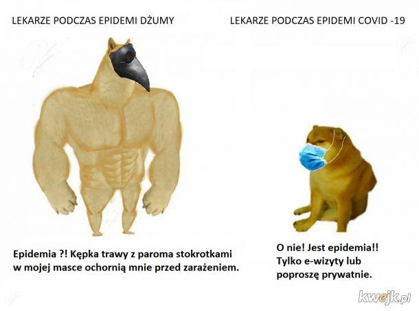 Lekarze dżumy vs. lekarze covid-19