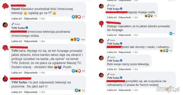 Moderator fanpejdża TVN Turbo wdaje się w pyskówkę z internautami