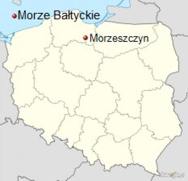 Polskie miejscowości i ich przeciwieństwa na mapie