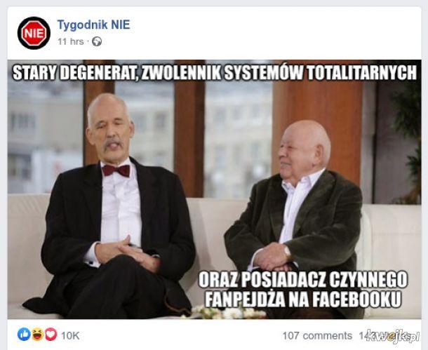 Pan redaktor Jerzy Urban świętuje przywrócenie strony na FB, koloryzowane