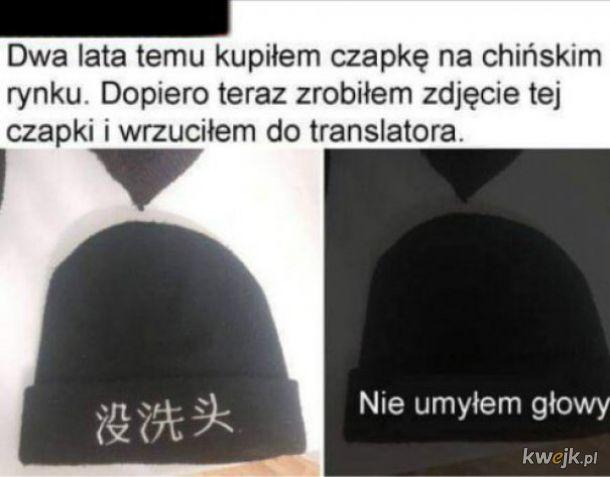 Czapka z chińskim napisem