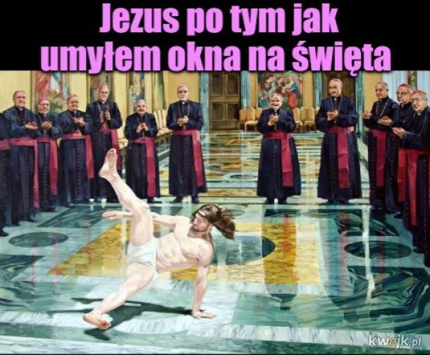 Typowy Jezus brejkdensi ze szczęścia