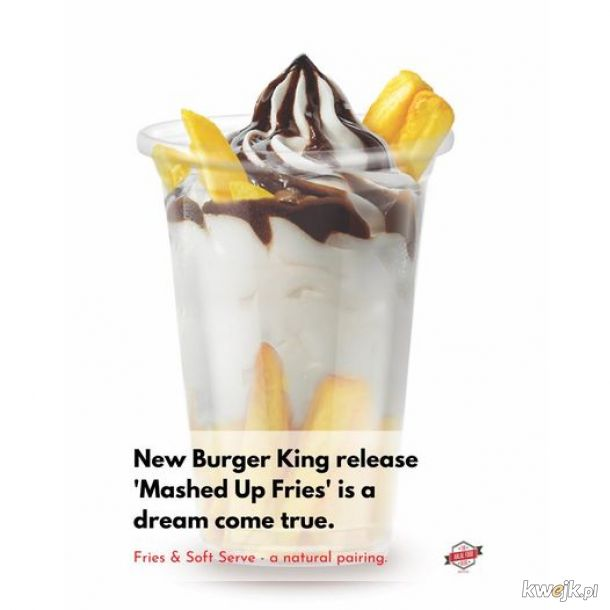 Limitowana edycja w Burger King Singapore: 'Mashed Up Fries'. Lody z frykami. Smacznego!