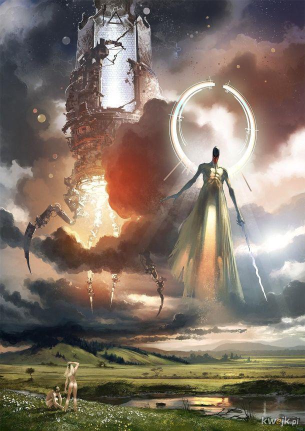 Adam i Ewa w Ogrodzie oraz anioł z ognistym mieczem - wariacja
