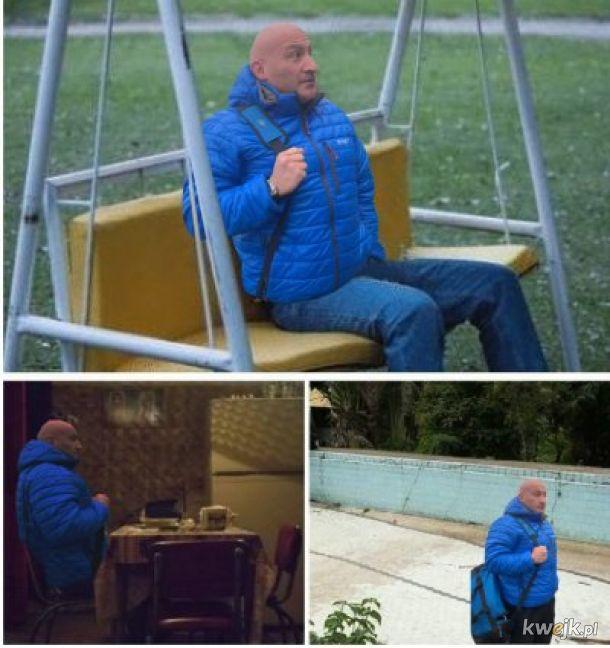 Marcin Najman czekający na Krzysztofa Stanowskiego, żeby się ponapie**alać pod siedzibą klubu Raków Częstochowa