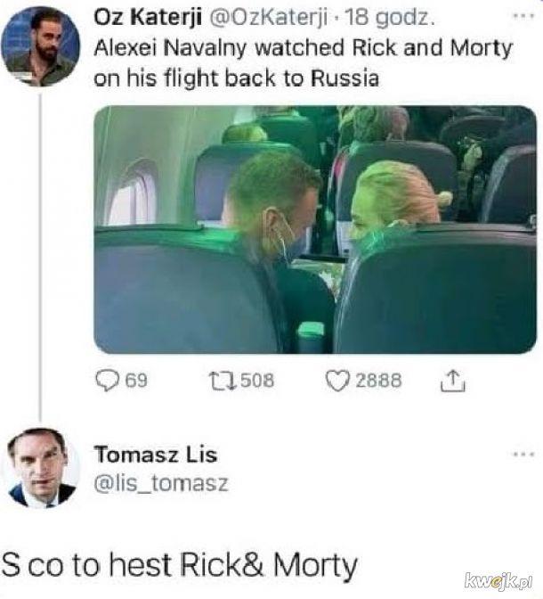 Nawalny oglądał ricka i mortiego w samolocie