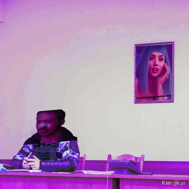 Internet leje ze zdjęcia omonowca na tle portretu Putina - oryginał na końcu